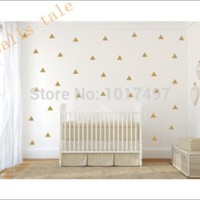 Free shipping Gold Triangle Vinyl Wall Decal Sticker (Set of 36) , Gold Geometric patterns modern nursery wall art decor