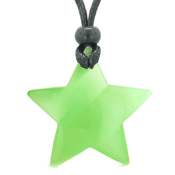 Amulet Magic Super Star Positive Powers Neon Green Cats Eye Crystal Lucky Charm Pendant Necklace