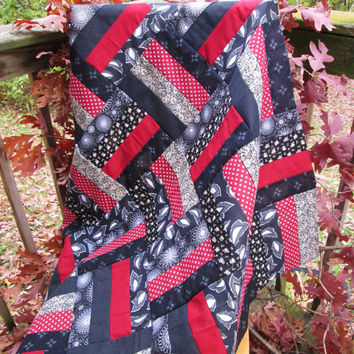 Custom Handmade Black and Burgundy Patchwork Quilt - Modern Colors and Pattern  - Choose Your Backer and Size