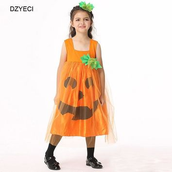 DZYECI Halloween Costume For Baby Girl Dress Pumpkin Frock Kid Up L Tunic Child Boutique Robe Princesse Vetement Enfant Fille