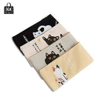 Rose Diary Fashion cute simple cat cartoon canvas Cosmetic Bag creative student large-capacity zipper Pen Bag Storage Bag Gift