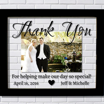 Thank You Personalized Wedding Floating Picture Frame - For helping make our day so special - Custom Name Date