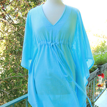 Mini Caftan Dress - Short Kaftan - Beach Cover Up - Baby Blue