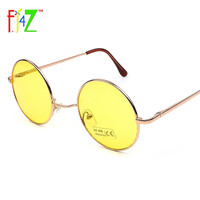 F.J4U 2017 Fashion Punk Women Sunglasses Classic Retro Round Lens Metal Frame Candy Color Eye Shades Goggle UV400