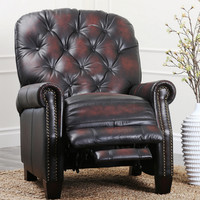 Camden Hand Rubbed Top Grain Leather Pushback Recliner Two Tone Brown