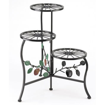Flower Plant Stand-Red Apple 3 Tier Wrought Iron Red Apple