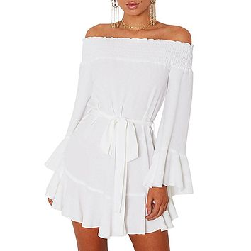 White Flare Sleeve Drop Hem Pleated Off Shoulder Short Dress