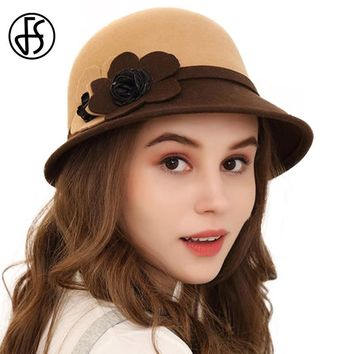 FS Winter Hats For Women Elegant 100% Wool Felt Fedora Lady FlowerBrown Black Red Floppy Cloche Church Hat Chapeaux Femme Feutre