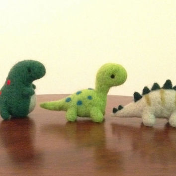 Needle Felted Dinosaurs - Brontosaurus, Stegosaurus, T-Rex - Felted animals - Soft sculptures