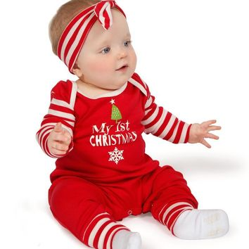 My First Christmas 2PC Bodysuit With Matching Headband