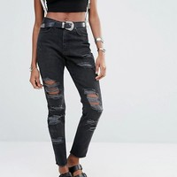 Missguided Riot High Rise Rip Mom Jeans at asos.com