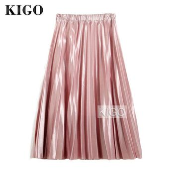 KIGO Spring Women Pleated Skirt Vintage Elastic High Waist Pink Metallic Skirt Elegant Midi Skirts For Women Jupe Tulle KC0385H
