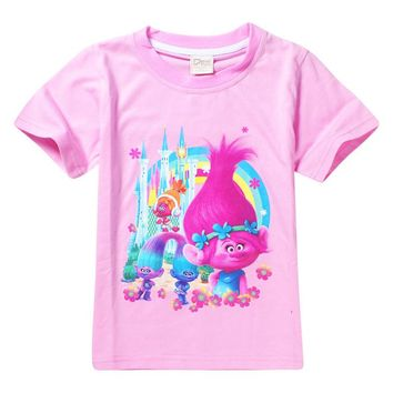 5-9Years 2017 New Cartoon Trolls summer children kids girls tees t shirt fashion clothing cute design girls princess t shirt