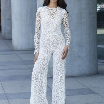 Alice Lace Jumpsuit - White