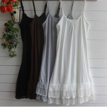 Summer nightgown Spaghetti Strap 4XL Plus Size Mori Girl Women Sexy Lolita Tunic Mini Sexy Lace sleepwear White Black Clothes