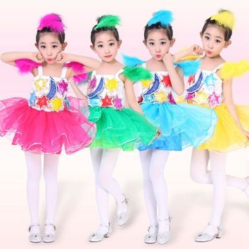 Girls Kids Children Costumes Performance Moon Star Feather Ballet Latin Dance Tutu Mesh Ruffles Princess Dress Dancewear S3188