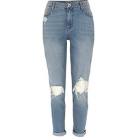 River Island Womens Mid wash ripped Ashley boyfriend jeans