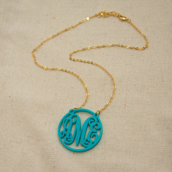 Monogram Necklace Round Frame and Vine Interlocking Script Font - Valentines Day gift present
