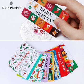 10Pcs/set Christmas Nail Scrapers 7.5 x 5cm Stamping Card Xmas Pattern Manicure Nail Art Scrapers