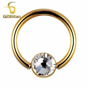 ac ICIKO2Q G23titan Gold Color Round Earrings Rings G23 Titanium Body Jewelry for Tragus Helix Lobe Piercing