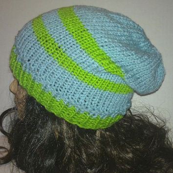 Knit Slouch Light Teal and Lime Hat