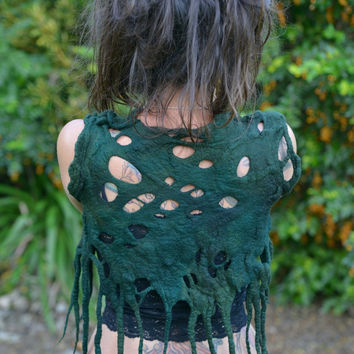 Felt Melted Forest Green Hand Dyed Pixie Woodland Forest Nymph Tree Roots Vest Top OOAK