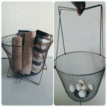 Vintage 50's Collapsible Basket French Brown Wire Storage Container