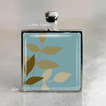 leaf shape necklace cool muted teal woodland nature jewlery foliage keychain glass tile jewelry autumn fall winter