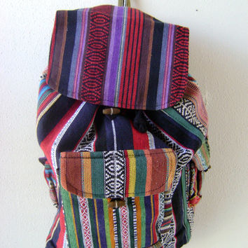 90s Mexican Print Backpack-Vintage Hippie Bag-Slouchy Bags-Travel-Guatemalan Print-Boho-Festival Bags-Purses-Handbags-Ethnic Print Tote Bags