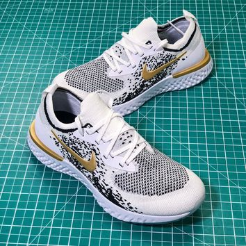 Nike Epic React Flyknit Id White Black Gold Sport Running Shoes- Best Online Sale