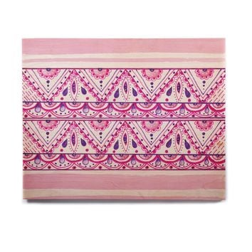 "Li Zamperini ""Aztec"" Magenta Pink Watercolor Birchwood Wall Art"