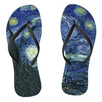 Starry Night Vincent van Gogh Fine Art Painting Flip Flops