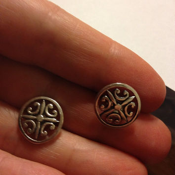 CELTIC STERLING Earrings Silver Irish Knot 925 Stamped Studs Wire Pierced Vintage Ireland Jewelry Scottish Scotland Trinity Jewellry Gift