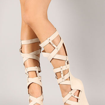 Liliana Mallika-47 Studded Gladiator Knee High Wedge