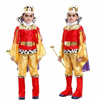 Boy Kids Prince King Cosplay Costume Halloween Children'Day Christmas Masquerade Fancy Dress Party Supplies