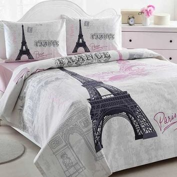 Home Collection Paris Duvet Cover Set Bedding Linens, 4 Pcs