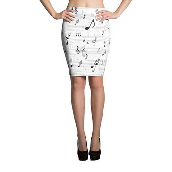 music lover gift her, music note skirt, tight skirts, cute skirt for women, sexy pencil skirt, women pencil skirt,  pencil skirt pattern
