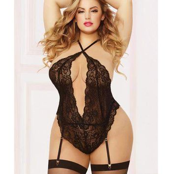 Seven til Midnight Plus Size Galloon Lace Gartered Teddy & Thigh Highs Set Black
