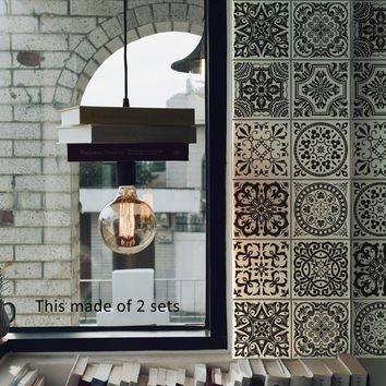 Black and White Retro Tile Tiles Stickers Bathroom Bathroom Wall Stickers Kitchen Waist Line Adhesive Waterproof PVC