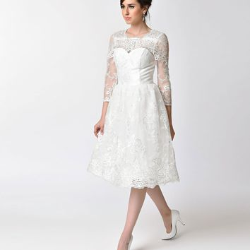 Chi Chi London 1950s Style White Embroidered Lace Sleeved Charlize Bridal Swing Dress