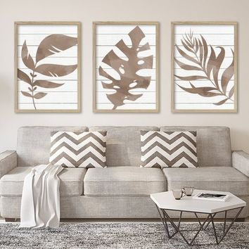WATERCOLOR Banana Monstera LEAF Wall Art, Beige Watercolor Banana Leaf Living Room Art, Botanical Tropical Artwork, Set of 3 Canvas or Print