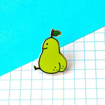 pear butt enamel pin