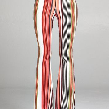 Red Hot Multi Stripe Bell Bottom Pants