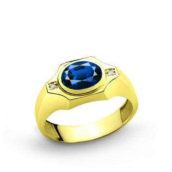 10 K Solid Yellow Gold Men's Ring with 2.40 ct Sapphire and 0.02 ct Diamonds