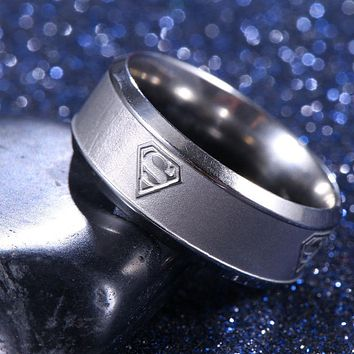 8mm Stainless Steel Superman Ring