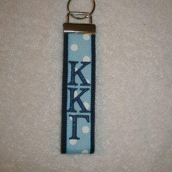 Kappa Kappa Gamma Sorority (OFFICIAL LICENSED PRODUCT)  Monogrammed Key Fob Keychain Cotton Webbing Ribbon Wristlet