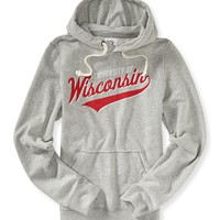 Aeropostale Mens University of Wisconsin Popover Hoodie - Gray,