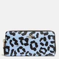 ACCORDION ZIP WALLET IN OCELOT PRINT CROSSGRAIN LEATHER