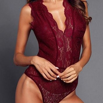 Sexy Red V Neck Hollow-out Lace Bodysuit