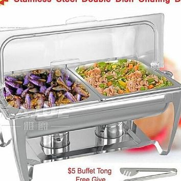 High Quality PC Flip Chafing Double Dish Stainless Steel With Free Tong